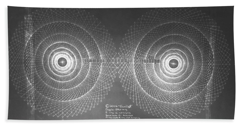 Doppler Beach Towel featuring the drawing Doppler Effect Parallel Universes by Jason Padgett