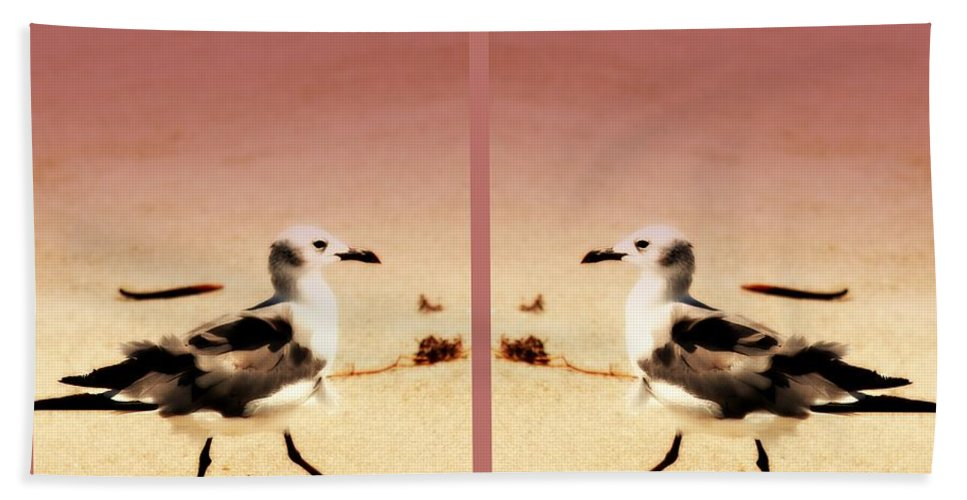 Double Gulls Beach Towel featuring the photograph Double Gulls Collage by Susanne Van Hulst