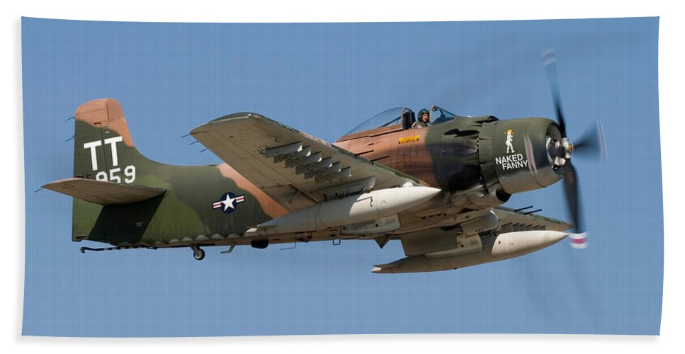 3scape Beach Towel featuring the photograph Douglas AD-4 Skyraider by Adam Romanowicz