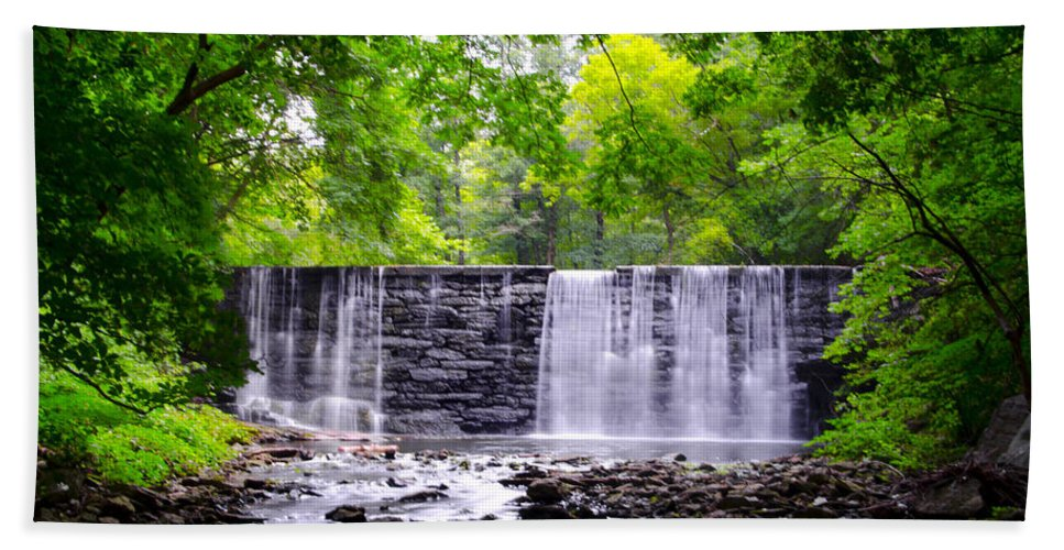 Dove Beach Towel featuring the photograph Dove Lake Waterfall At Gladwyne by Bill Cannon