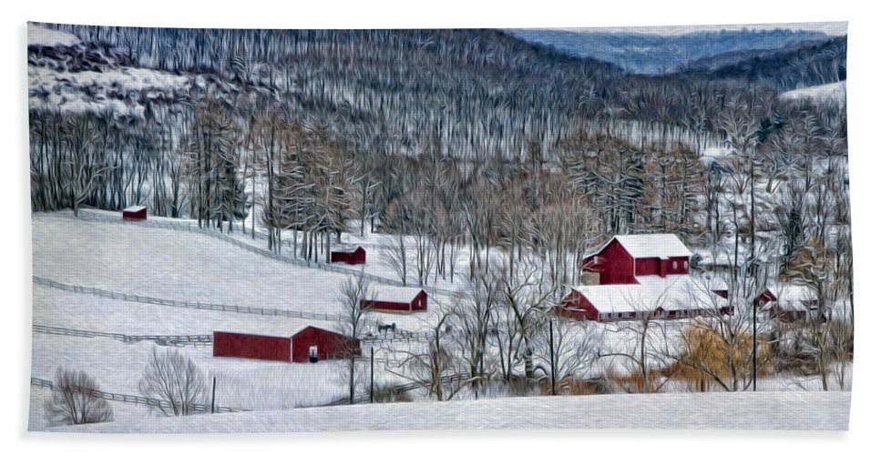 Winter Beach Towel featuring the photograph Down In The Valley by Claudia Kuhn