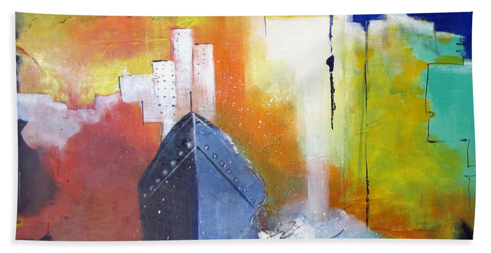 New York Beach Towel featuring the painting Down The Hudson by Gary Smith