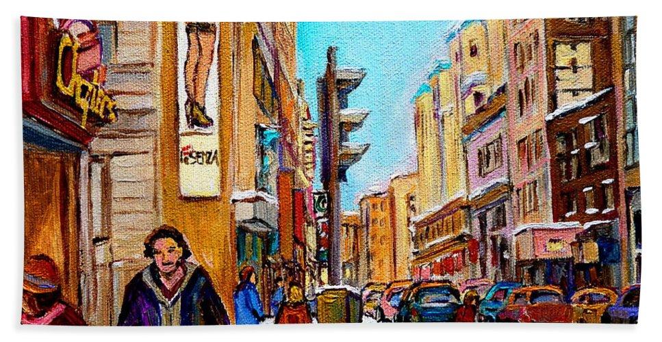 La Senza Lingerie Beach Towel featuring the painting Downtown City Life by Carole Spandau
