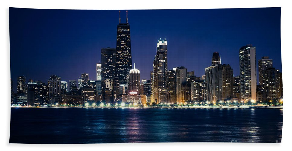 America Beach Towel featuring the photograph Downtown City Of Chicago At Night by Paul Velgos
