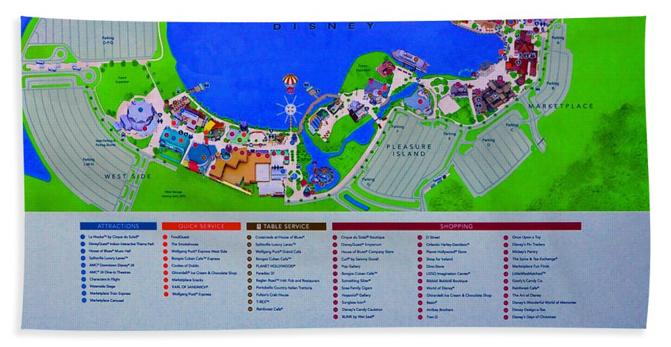 Disney Florida Map.Downtown Disney Florida Map Classic Beach Towel For Sale By David
