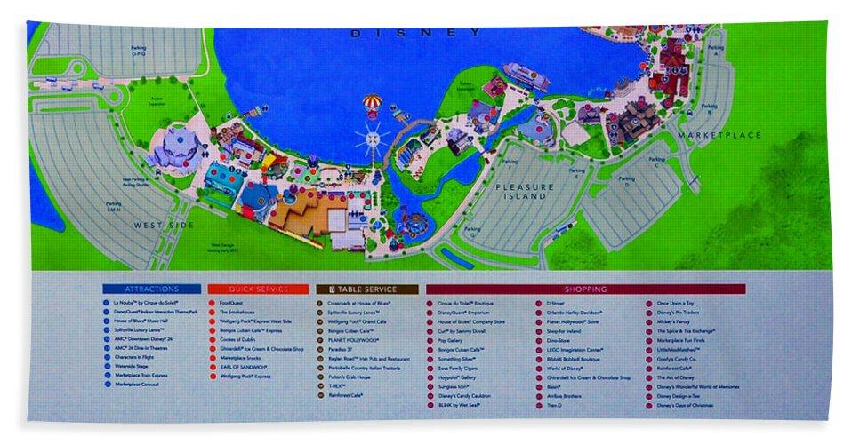 Full Map Of Florida.Downtown Disney Florida Map Classic Beach Towel