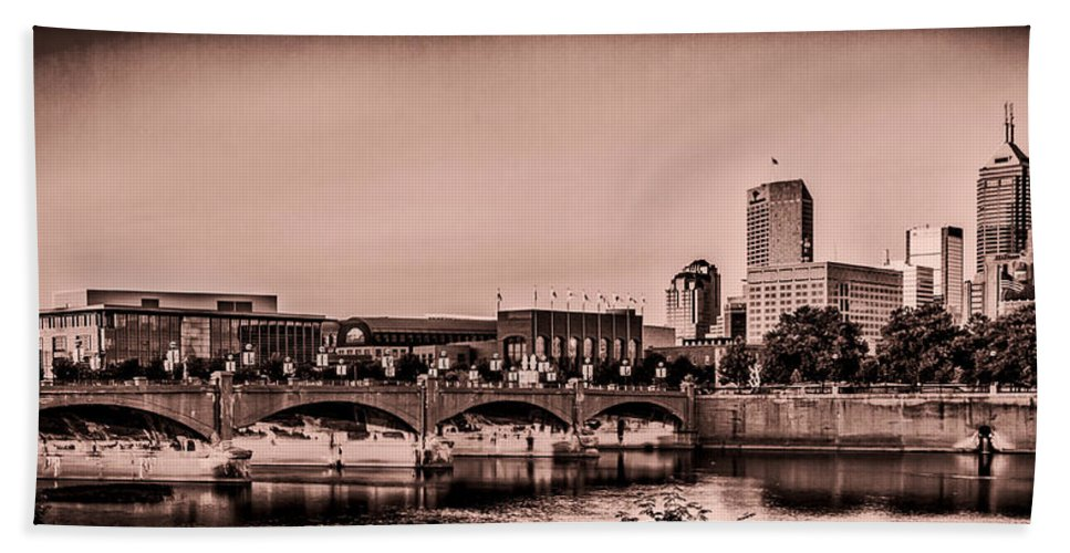 Indiana Beach Towel featuring the photograph Downtown Indianapolis by Ron Pate