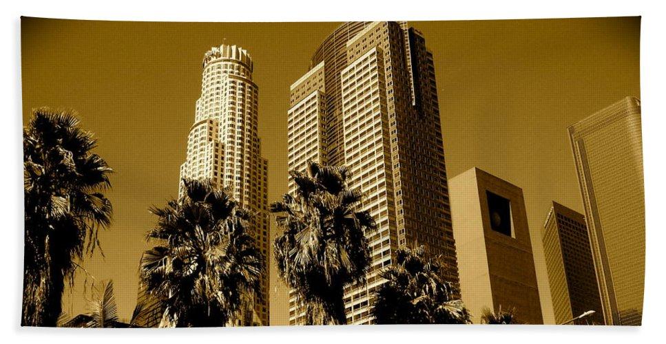 Los Angeles Prints Beach Towel featuring the photograph Downtown Los Angeles by Monique's Fine Art