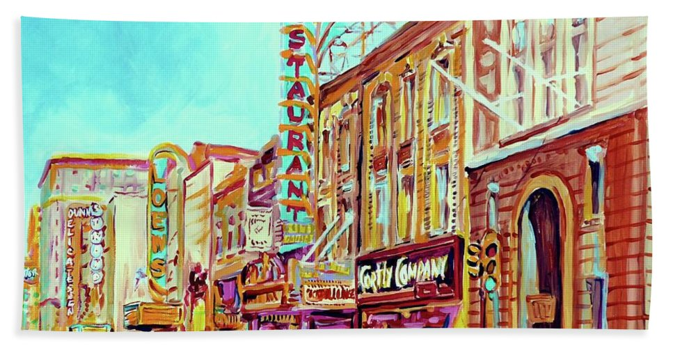 Montreal Beach Towel featuring the painting Downtown Montreal by Carole Spandau