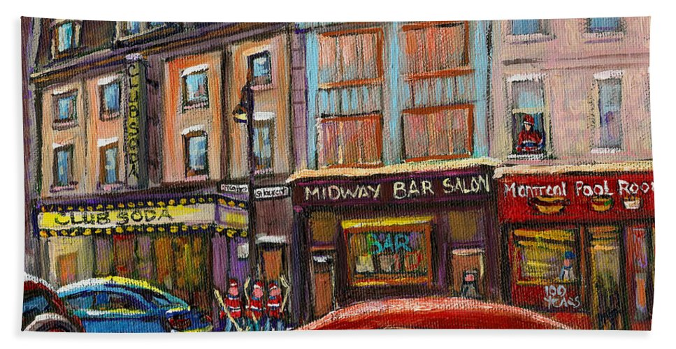 Montreal Beach Towel featuring the painting Downtown Montreal Streetscene by Carole Spandau