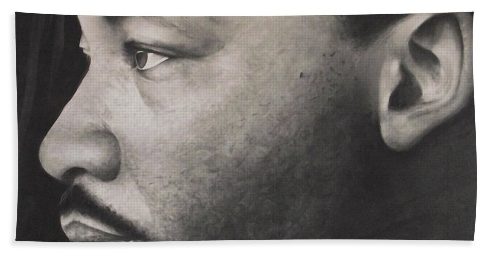 Martin Luther King Jr Beach Towel featuring the drawing Dr. Martin by Adrian Pickett
