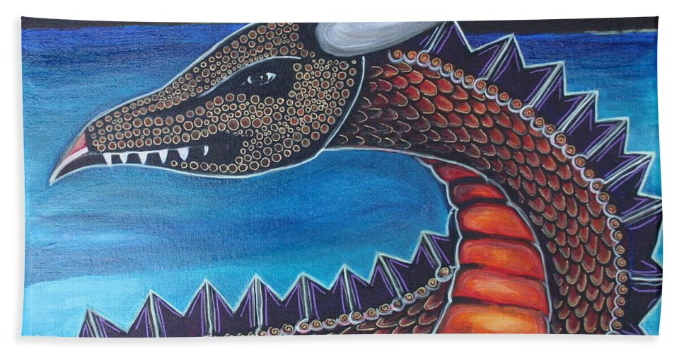 Dragon Beach Towel featuring the painting Dragon Three by Kate Fortin