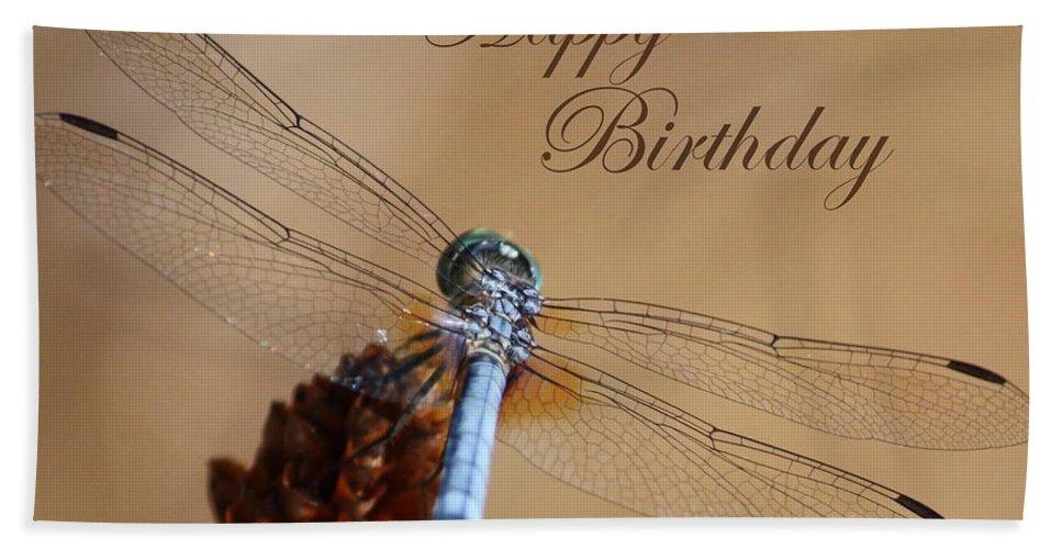Birthday Card Beach Towel featuring the photograph Dragonfly Birthday Card by Carol Groenen