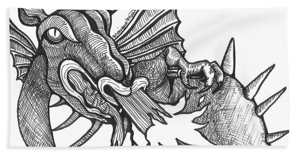 Dragon Beach Towel featuring the drawing Dragon's Fire by Monique Montney