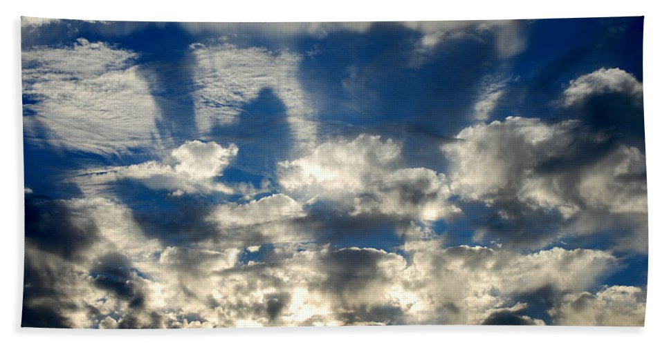 Blue Beach Towel featuring the photograph Drama Cloud Sunset I by Kathy Sampson