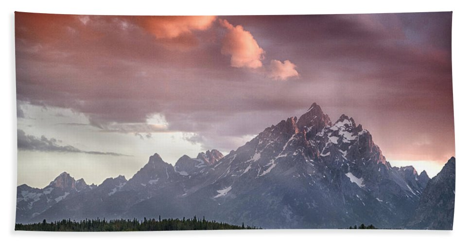 Tetons Beach Towel featuring the photograph Drama In The Sky by Claudia Kuhn