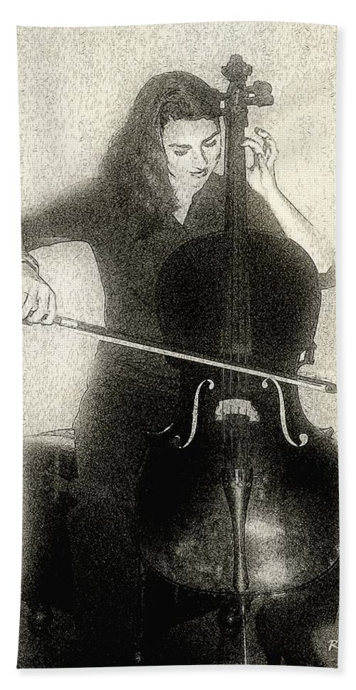 Cello Beach Towel featuring the digital art Drawing The Bow by RC DeWinter