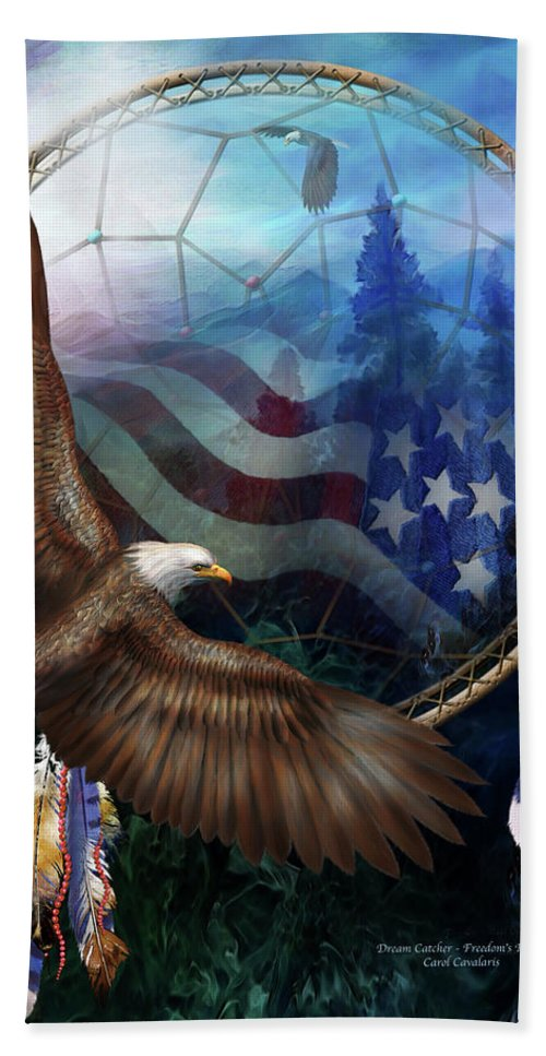 Carol Cavalaris Beach Towel featuring the mixed media Dream Catcher - Freedom's Flight by Carol Cavalaris