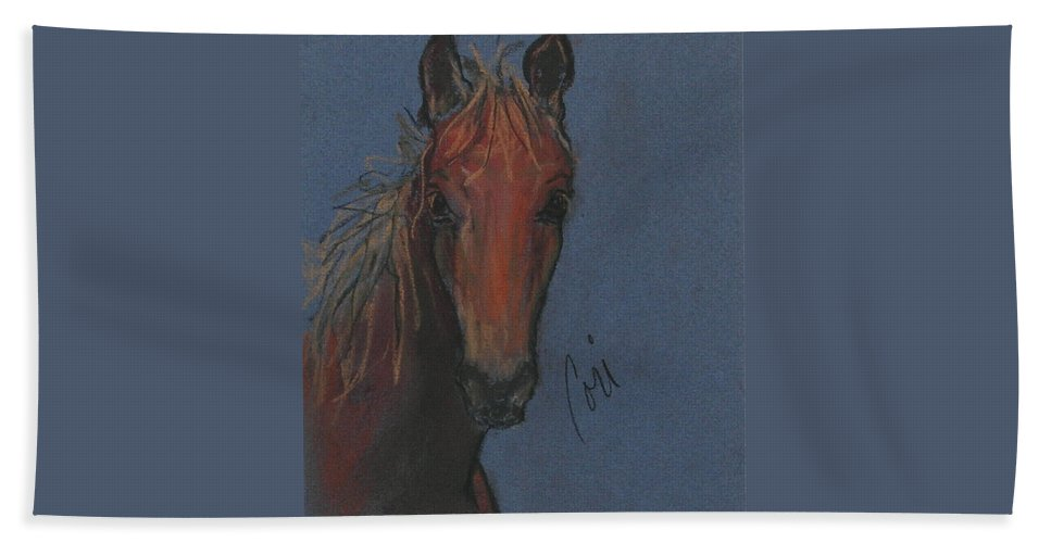 Horse Beach Towel featuring the drawing Dream Watcher by Cori Solomon
