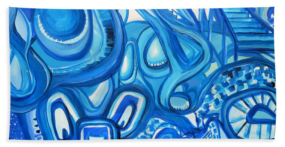 Surreal Beach Towel featuring the painting Dreaming In Blue by Larry Calabrese