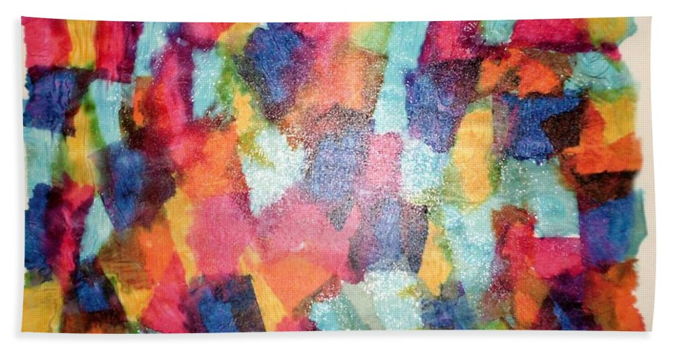 Abstract Art Beach Towel featuring the mixed media Dreams by Luz Elena Aponte