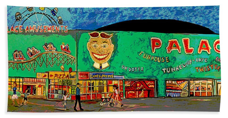 Asbury Park Palace Beach Towel featuring the painting Dreams of the Palace by Patricia Arroyo