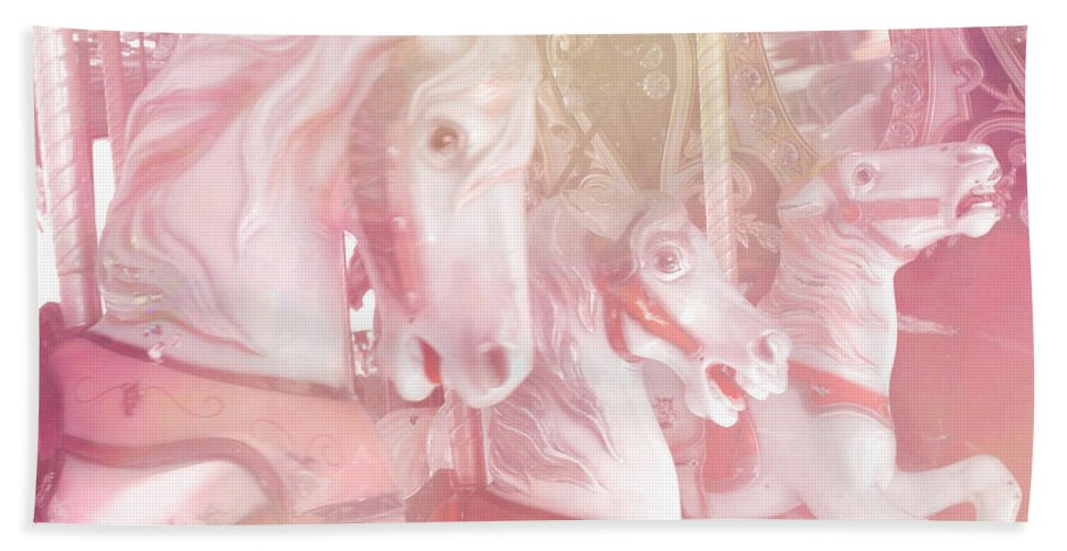 Carousel Horses Beach Towel featuring the photograph Dreamy Baby Pink Merry Go Round Carousel Horses - Pink Carousel Horses Baby Girl Nursery Decor by Kathy Fornal