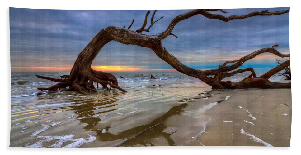Clouds Beach Towel featuring the photograph Driftwood II by Debra and Dave Vanderlaan