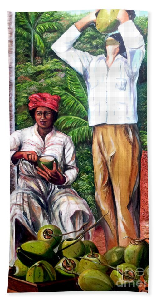 Coconut Beach Towel featuring the painting Drinking coconut water by Jose Manuel Abraham