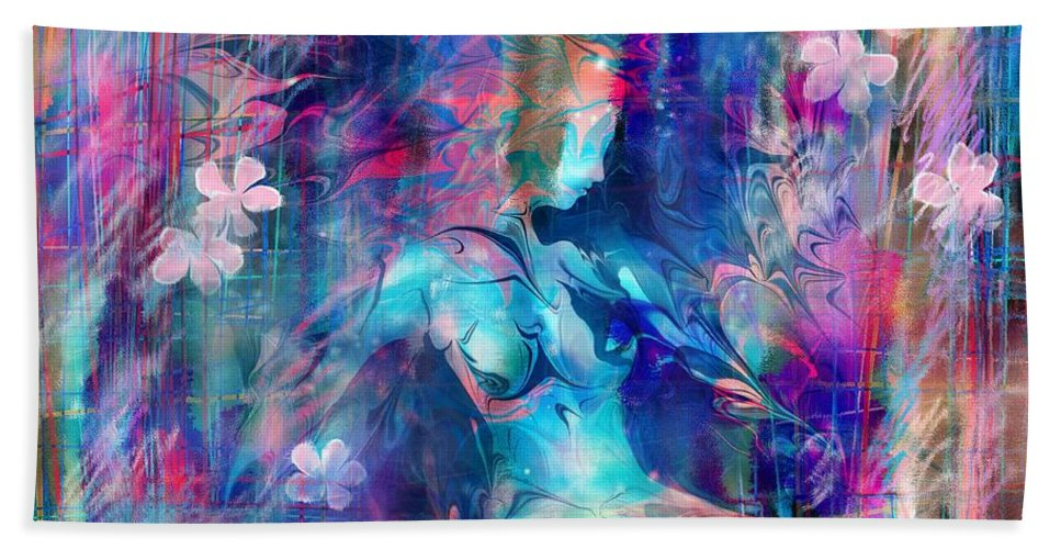 Girl Beach Towel featuring the digital art Drowning girl with flowers by William Russell Nowicki