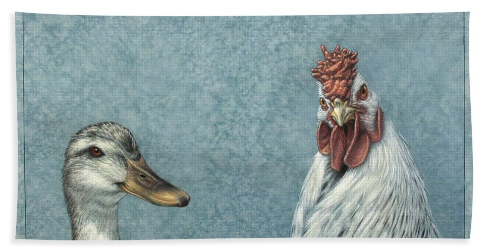Duck Beach Towel featuring the painting Duck Chicken by James W Johnson