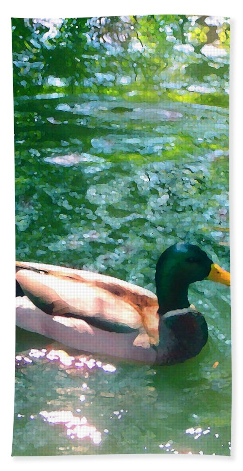 Beach Towel featuring the painting Duck On Green Pond by Amy Vangsgard