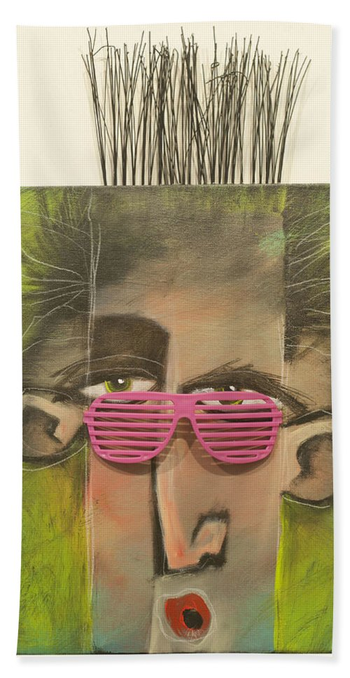 Sunglasses Beach Towel featuring the painting Dude With Pink Sunglasses by Tim Nyberg