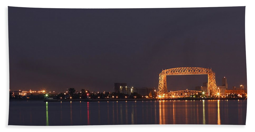 Evening Beach Towel featuring the photograph Duluth Canal Park Eve 2 by John Brueske