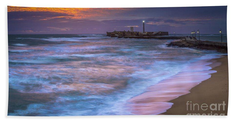Andalucia Beach Towel featuring the photograph Dusk At La Caleta Beach Cadiz Spain by Pablo Avanzini