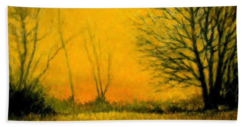 Landscape Beach Towel featuring the painting Dusk At The Refuge by Jim Gola