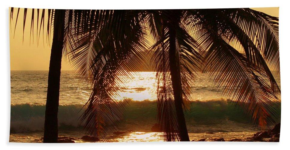 Hawaii# Hawaiian Sunset Beach Towel featuring the photograph Dusk by Athala Bruckner