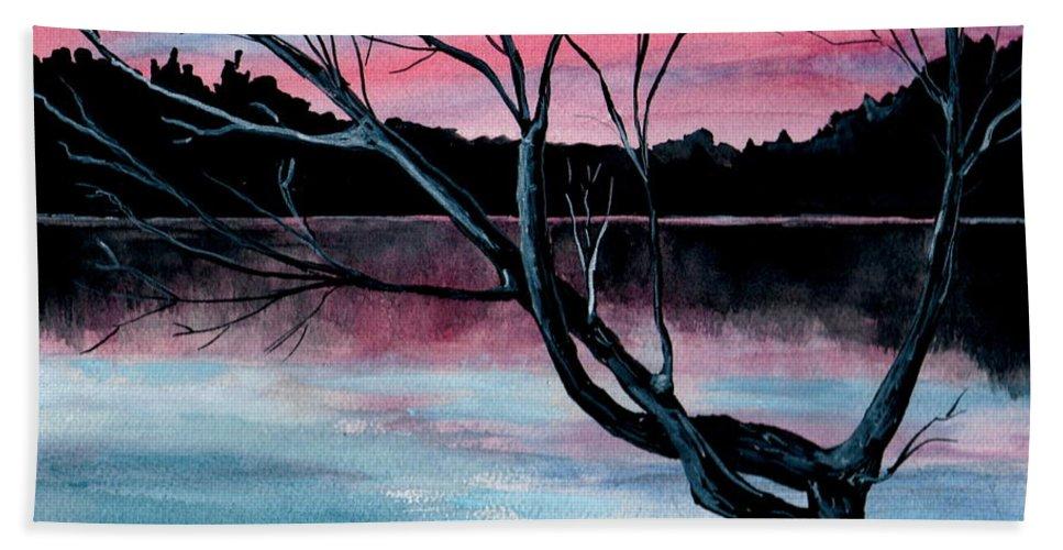 Landscape Beach Sheet featuring the painting Dusk Lake Arrowhead Maine by Brenda Owen