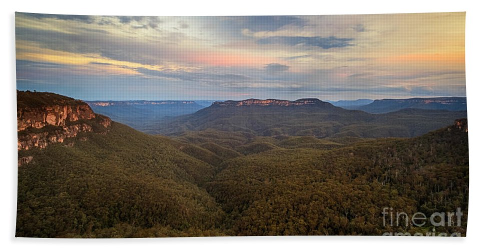 Nature Beach Towel featuring the photograph Dusk Over Mount Solitary by Silken Photography