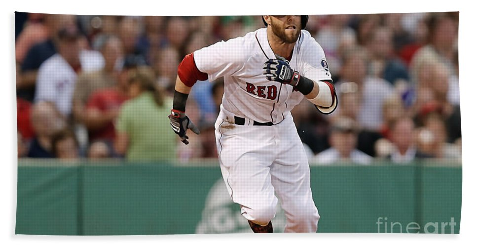 Home Art Beach Towel featuring the mixed media Dustin Pedroia by Marvin Blaine