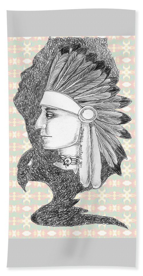 Native American Beach Towel featuring the drawing Eagle Spirit by Monique Montney