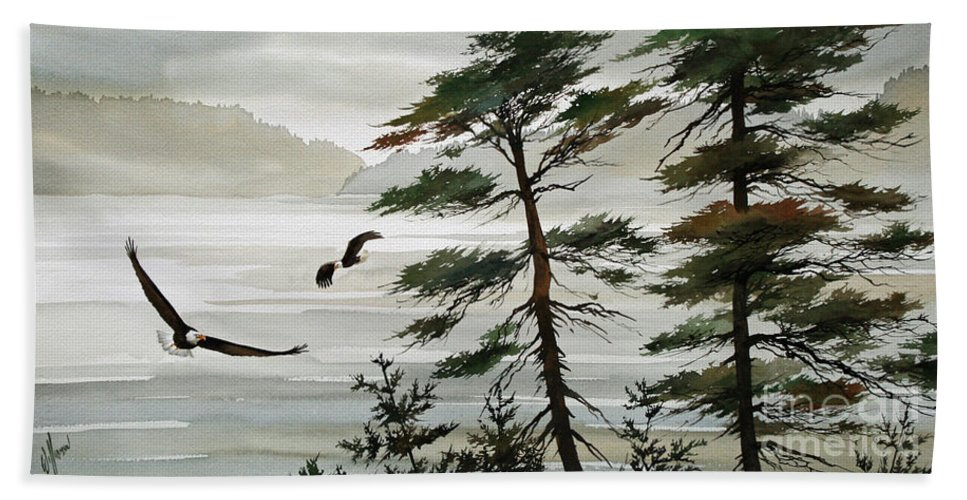 Eagle Fine Art Print Beach Towel featuring the painting Eagles Eden by James Williamson