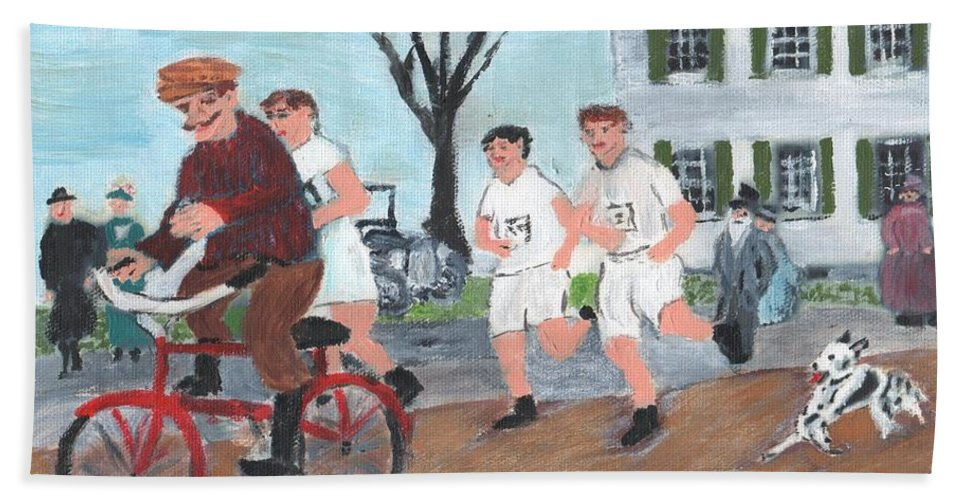 Ashland Beach Towel featuring the painting Early Boston Marathon by Cliff Wilson