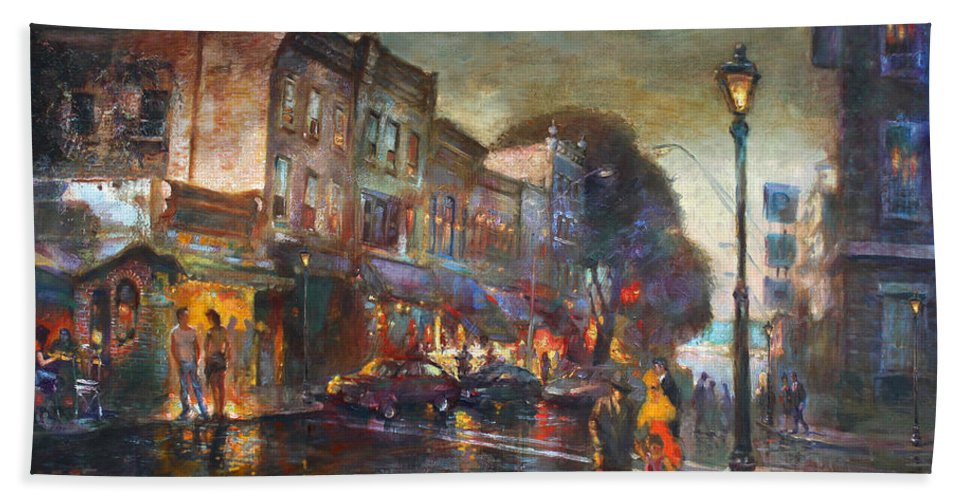 Main St Nyack Beach Towel featuring the painting Early Evening In Main Street Nyack by Ylli Haruni