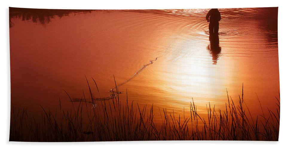 Fishing Beach Towel featuring the photograph Early Morning Fishing by Todd Klassy