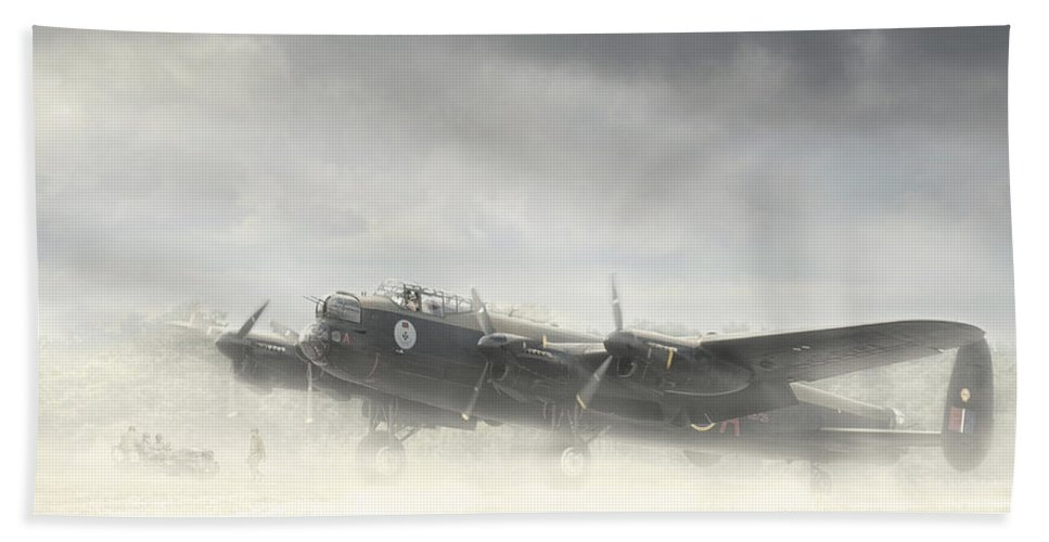 Aviation Aircraft Wwii Bomber R.c.a.f Royal Air Force Canadian Mynarski Lancaster Fog Military Airplane Plane Fighting War Beach Towel featuring the photograph Early Morning Fog by Jeff Stephenson