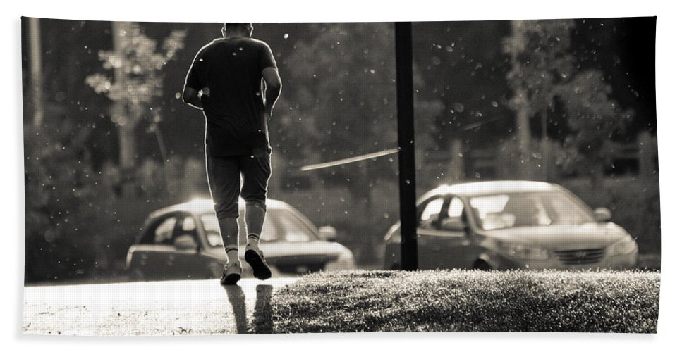 Beach Towel featuring the photograph Early Morning Jog by Cheryl Baxter