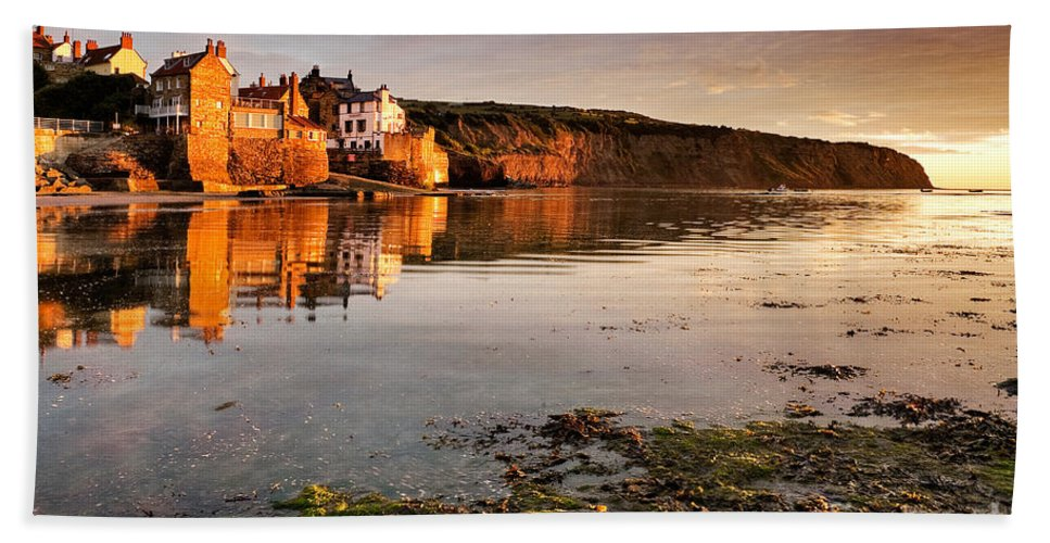 2010 Beach Towel featuring the photograph Early Morning Light On Robin Hoods Bay by Richard Burdon