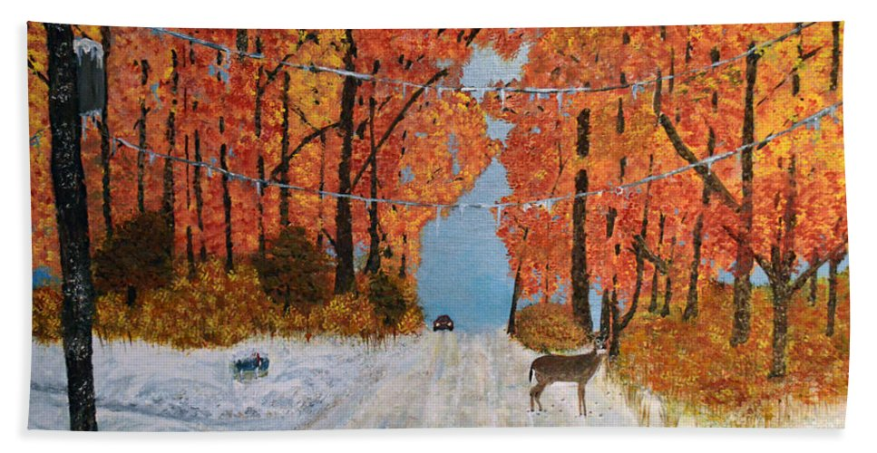 Snow Beach Towel featuring the painting Early Snow by Ken Figurski