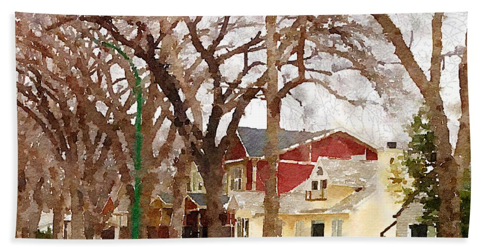 Suburban Scene Beach Towel featuring the photograph Early Spring Street by Donald S Hall